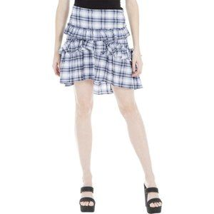 Max Studio London Blue Plaid Ruffled Plaid Skirt